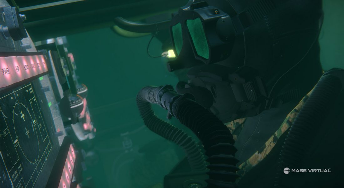 VR image of Diver working in the water