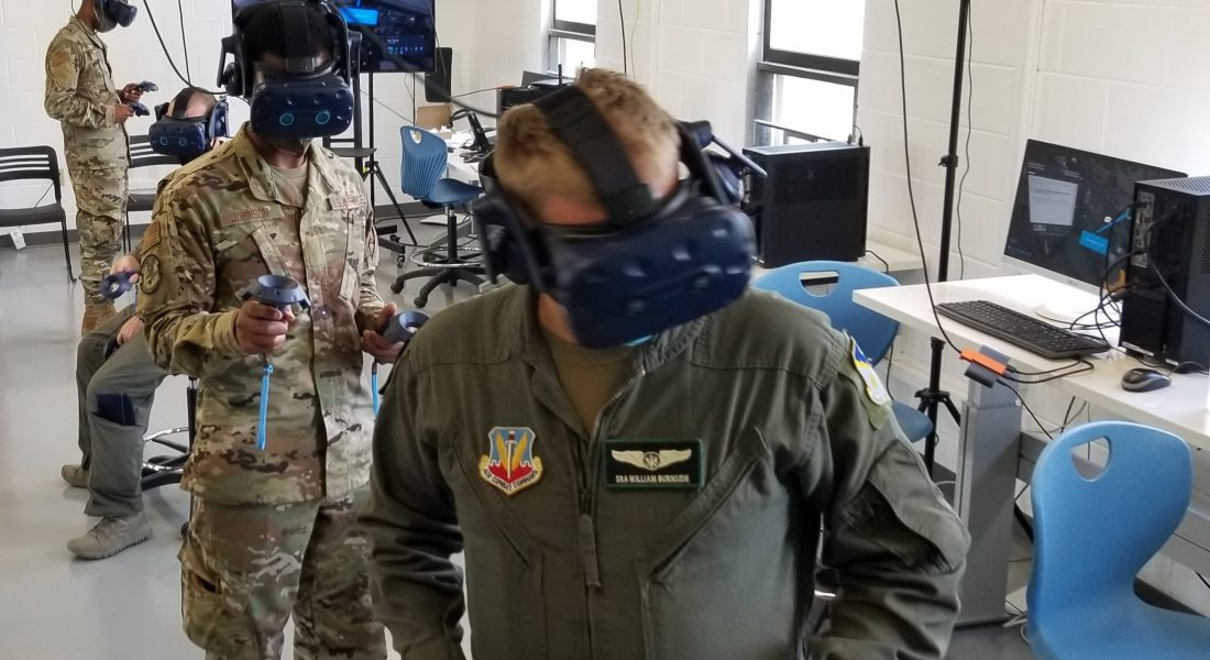 Soldier using VR headset