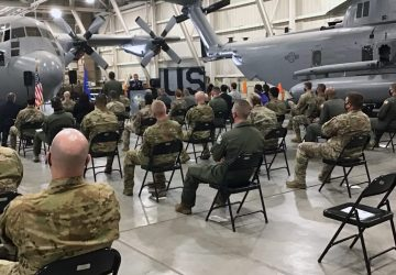 group of seated soldiers attending ribbon cutting ceremony for VR learning laboratory